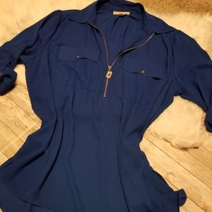 Michael Kors blue plus size collared top